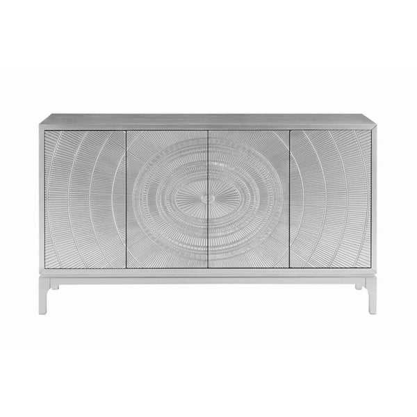 Silver 4 Door Accent Cabinet 60 X 15 75 X 35 Overstock 25859921
