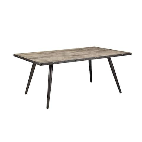 """Strick & Bolton Chapman Weathered Grey and Gunmetal Dining Table - 71.75"""" x 42"""" x 30"""""""