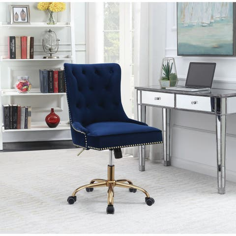 """Blue and Brass Upholstered Swivel Office Chair - 22"""" x 28"""" x 34.50"""""""