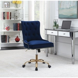 Blue and Brass Upholstered Swivel Office Chair