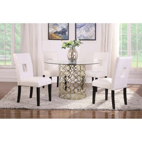 """Bradshaw Brushed Gold and Clear Round Dining Table - 30.50"""" x 48"""""""