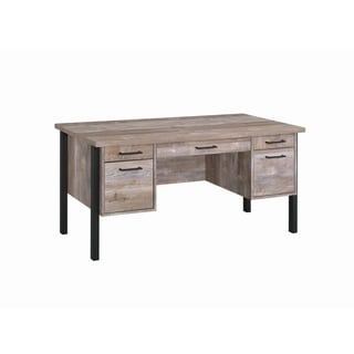 Link to Carbon Loft Wilson Weathered Oak 4-drawer Office Desk Similar Items in Computer Desks