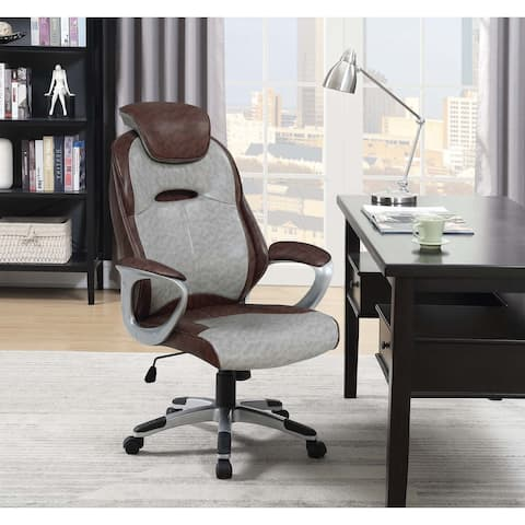Porch & Den Edgecliffe Brown and Grey Upholstered Office Chair