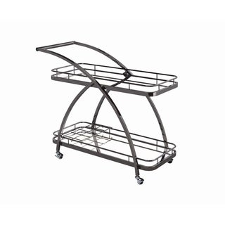 Mirror and Black Nickel 2-tier Serving Cart with Bottle Wine Rack