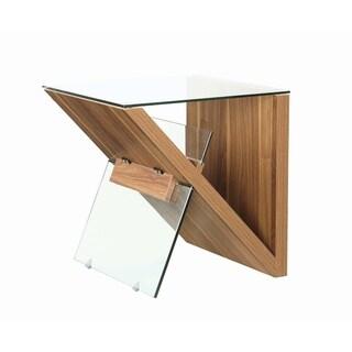 "Carbon Loft Baer Clear and Light Walnut Rectangular End Table - 22"" x 20"" x 22"""