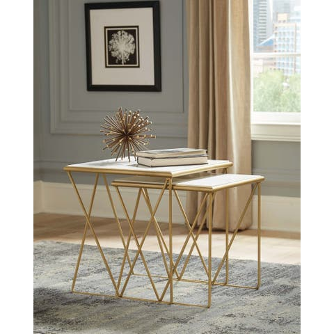 White and Gold 2-piece Nesting Table Set