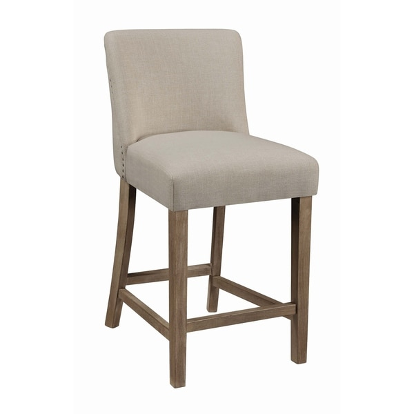 Shop The Gray Barn Hickory Place Beige And Pine Upholstered Stools Set Of 2 On