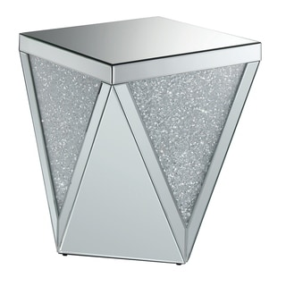 Silver Orchid Ipsen Silver and Mirror Square End Table