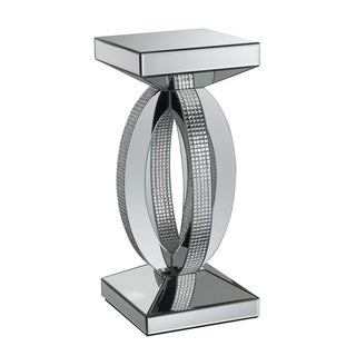 """Silver Orchid Ipsen Silver and Mirror Square End Table - 12.25"""" x 12.25"""" x 27.75"""""""