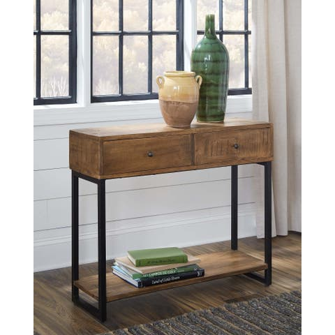 Natural and Black 2-drawer Rectangular Console Table