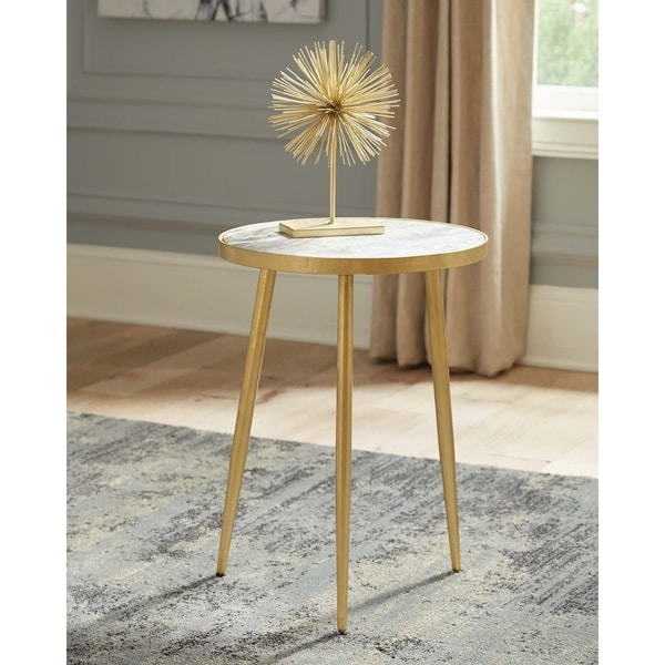 White Marble And Metal Round Accent Table: Shop White And Gold Round Accent Table