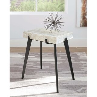 "White and Black Rectangular Accent Table - 18"" x 12"" x 22"""