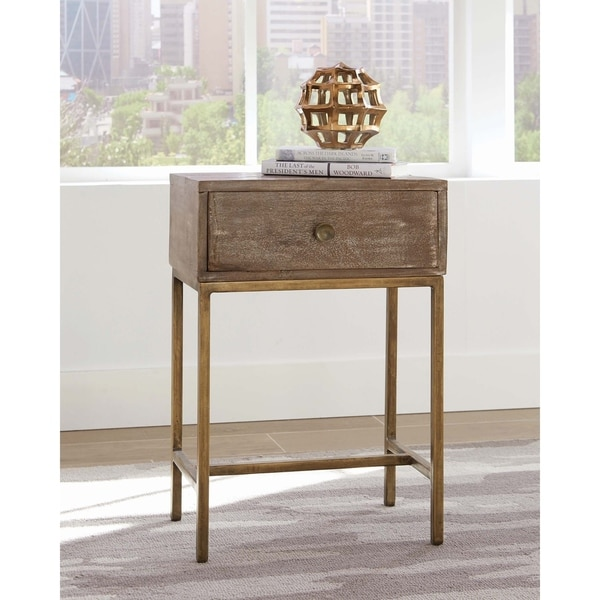 """Weathered Natural and Antique Gold Rectangular Accent Table - 18"""" x 12"""" x 26"""""""