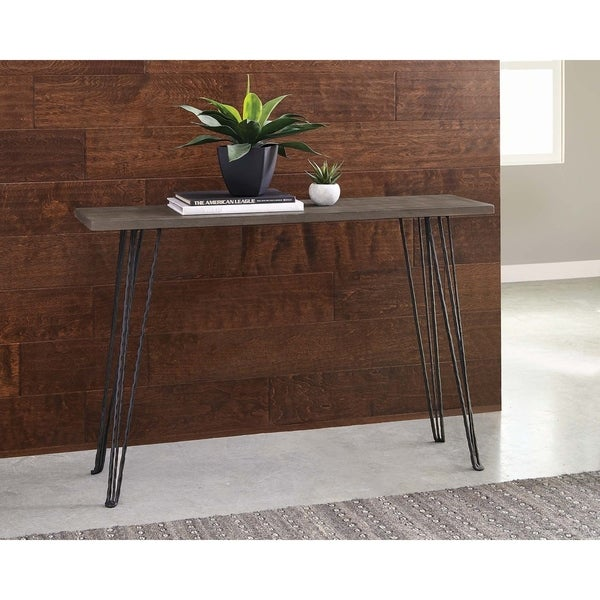 "Concrete and Black Rectangular Console Table - 47"" x 13"" x 31.50"""