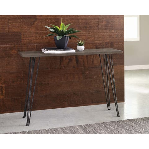 Concrete and Black Rectangular Console Table