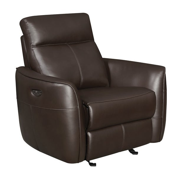 Copper Grove Antwerp Dark Brown Power Glider Recliner with Power Headrest