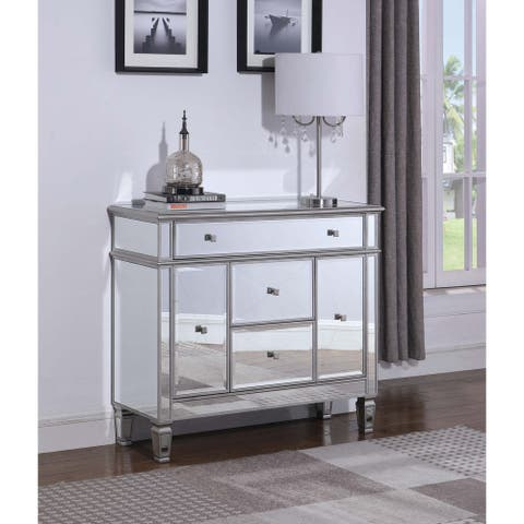 "Silver 3-drawer Mirrored Accent Cabinet - 42"" x 15"" x 37"""