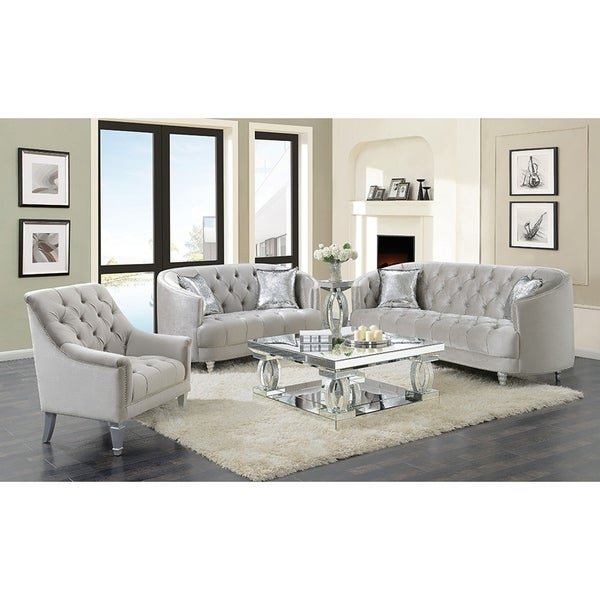 Silver Orchid O'Fredericks Grey 3-piece Tufted Living Room Set