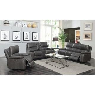 Copper Grove Antoing Charcoal 3-piece Power Headrest Living Room Set