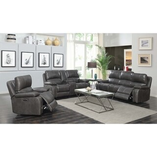 Ravenna Charcoal 3-piece Power Headrest Living Room Set