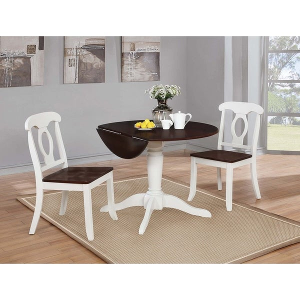 Shop Bremerton Rich Brown And White Round Drop Leaf Dining Table