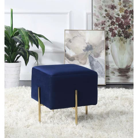 Blue and Brass Square Scale Ottoman