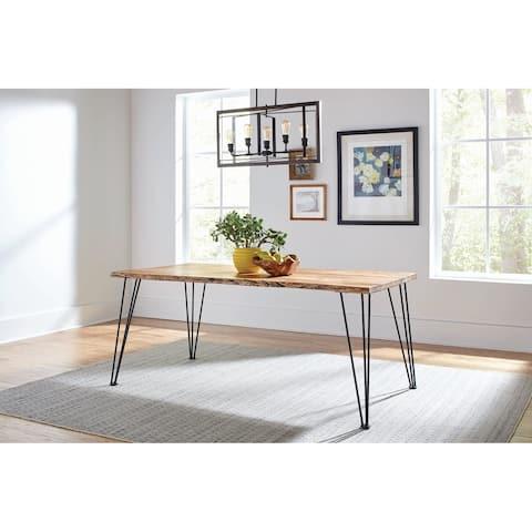 Carbon Loft Meyers Natural Acacia and Gunmetal Live Edge Dining Table - Grey