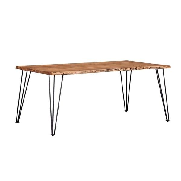 Carbon Loft Meyers Natural Acacia and Gunmetal Live Edge Dining Table
