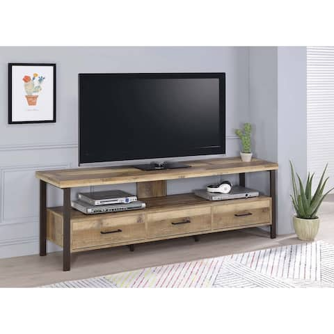 """Weathered Pine 71-inch TV Console - 70.75"""" x 15.50"""" x 23.50"""""""