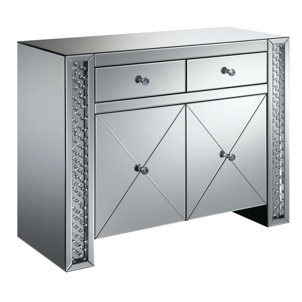 """Silver Orchid  Munchofen Silver 2-drawer Accent Cabinet - 39.75"""" x 16"""" x 31.75"""" (Silver)"""