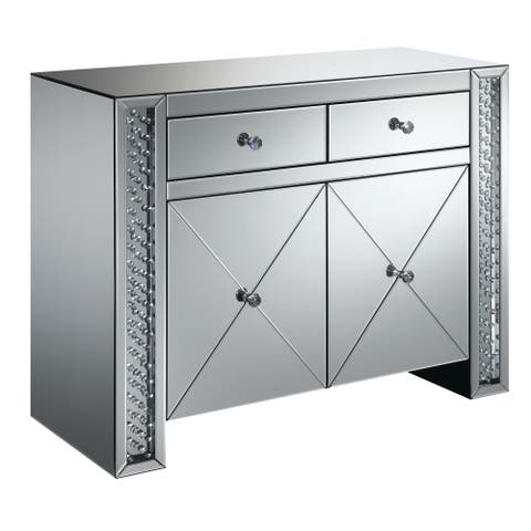 "Silver Orchid Munchofen Silver 2-drawer Accent Cabinet - 39.75"" x 16"" x 31.75"""