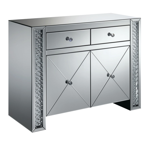 """Silver Orchid Munchofen Silver 2-drawer Accent Cabinet - 39.75"""" x 16"""" x 31.75"""""""
