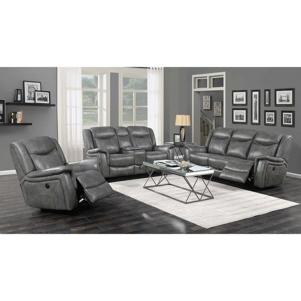 Cool Sofas For Sale: Shop Conrad Cool Grey Power Recline Sofa
