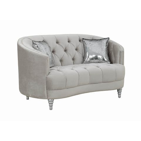 "Silver Orchid Pehrson Grey and Silver Tufted Loveseat - 63"" x 37.50"" x 36"""