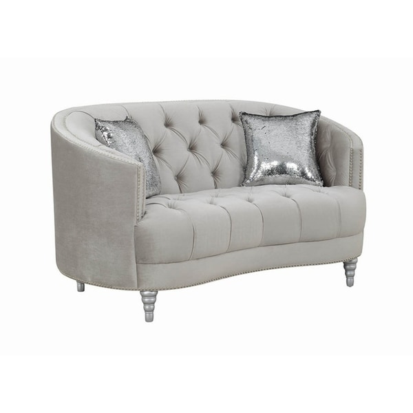 """Silver Orchid Pehrson Grey and Silver Tufted Loveseat - 63"""" x 37.50"""" x 36"""". Opens flyout."""