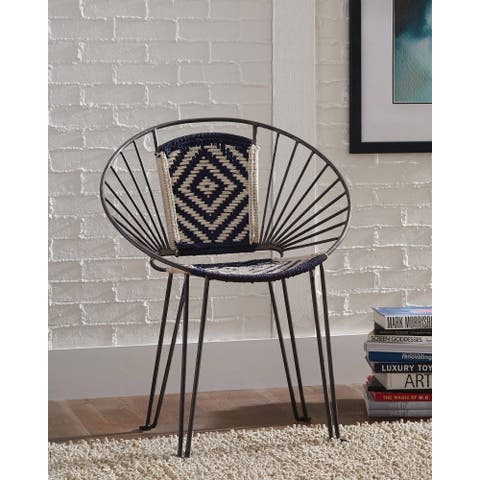 Navy and Beige Geometric Pattern Accent Chairs (Set of 2)