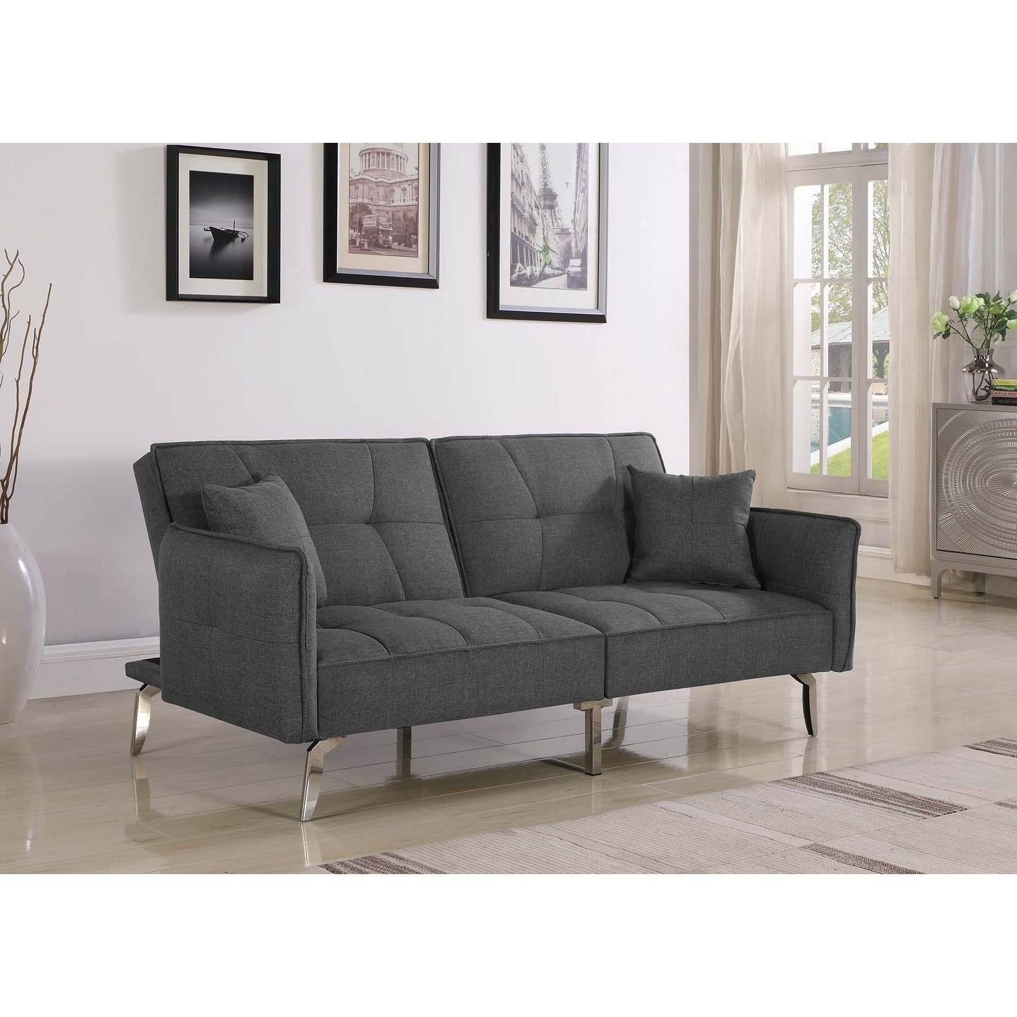 Strange Grey Upholstered Tufted Sofa Bed Gamerscity Chair Design For Home Gamerscityorg