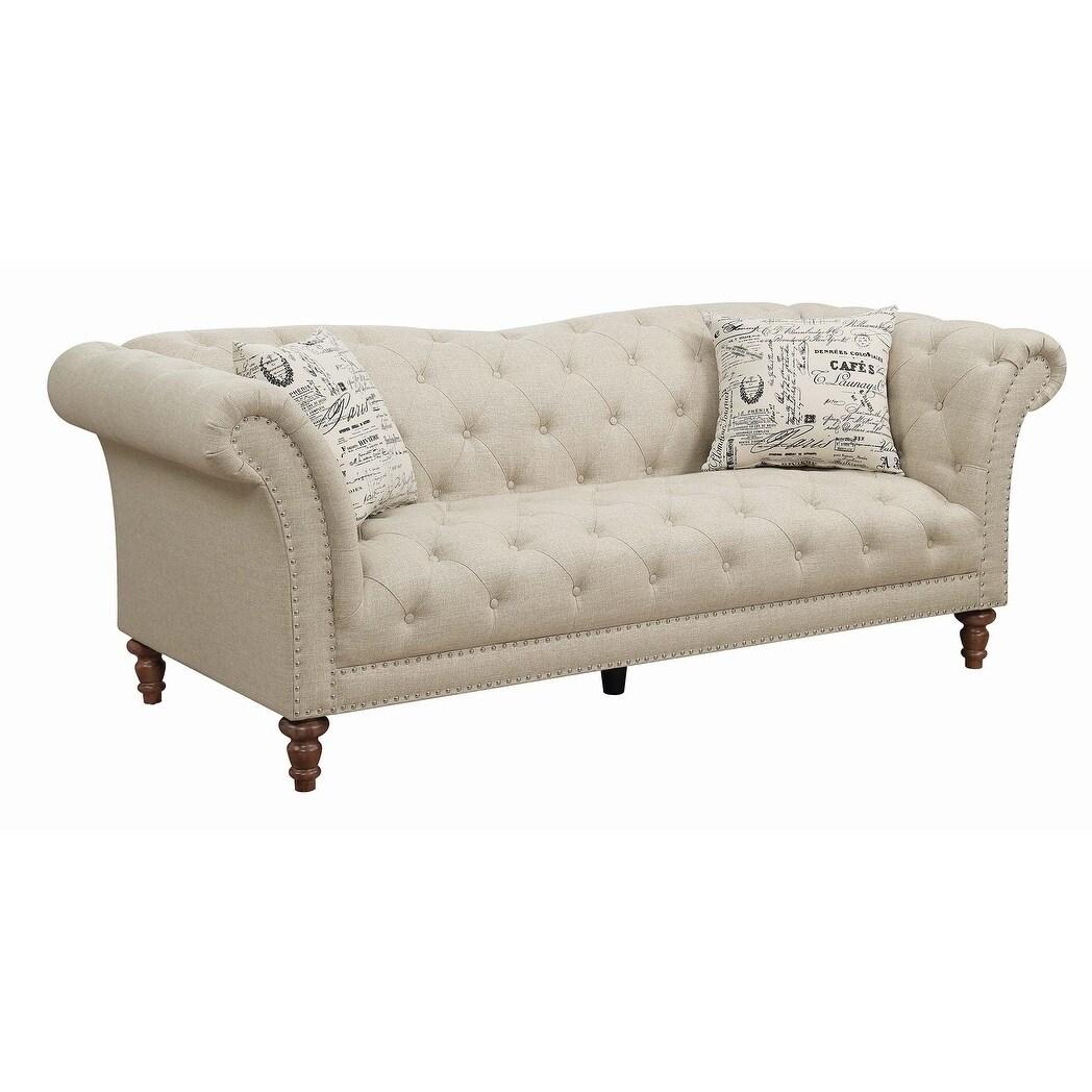 Copper Grove Smorgon Beige Tufted Sofa