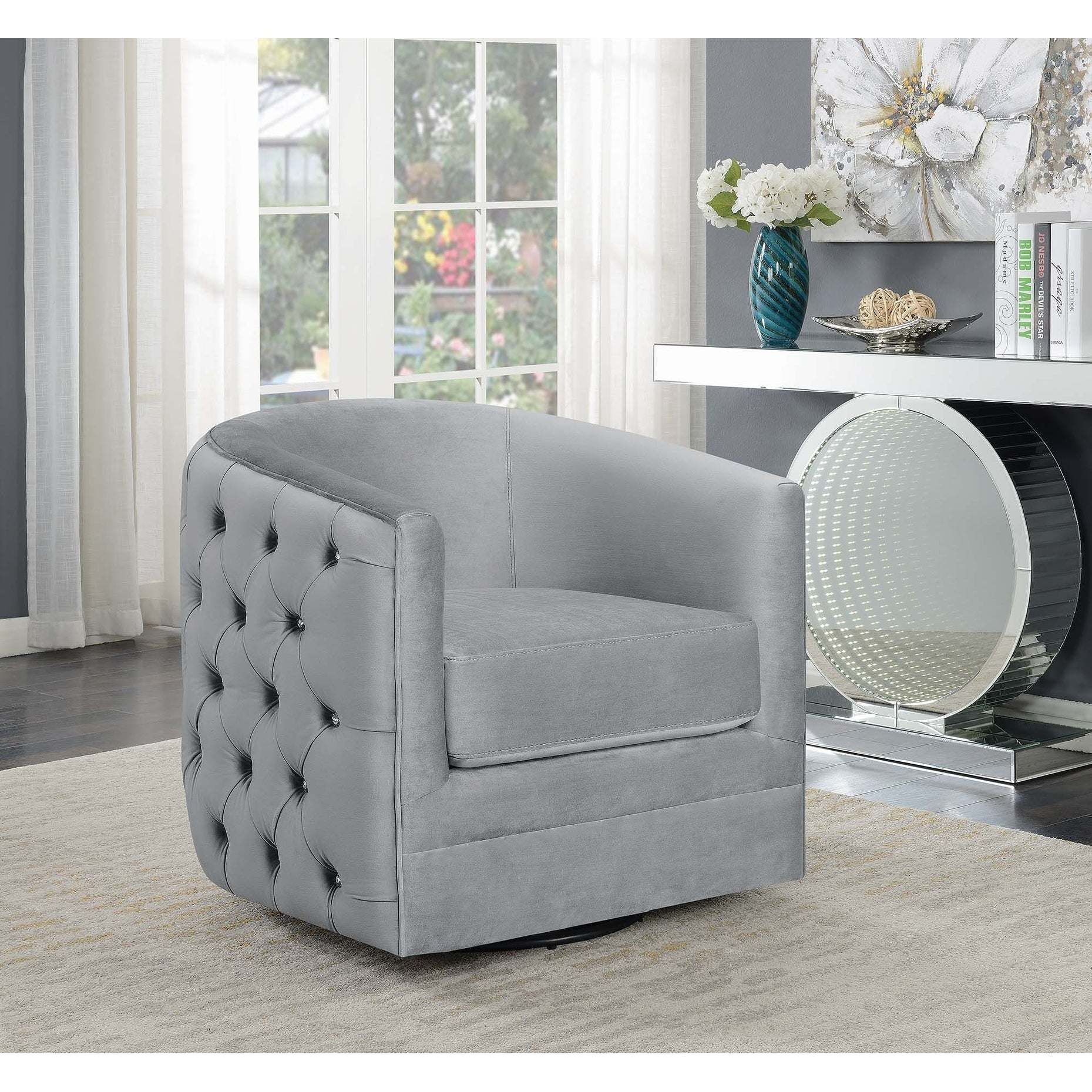 Silver Orchid Sonne Grey Upholstered Swivel Accent Chair 32 X 31 50 X 30