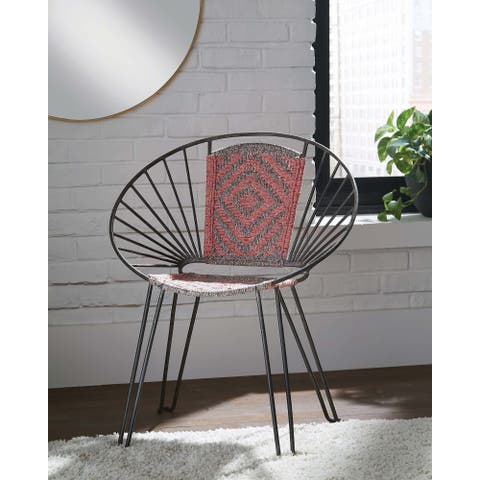Pink and Grey Geometric Pattern Accent Chairs (Set of 2)