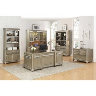 Ritzville Metallic Champagne 5-drawer Executive Desk