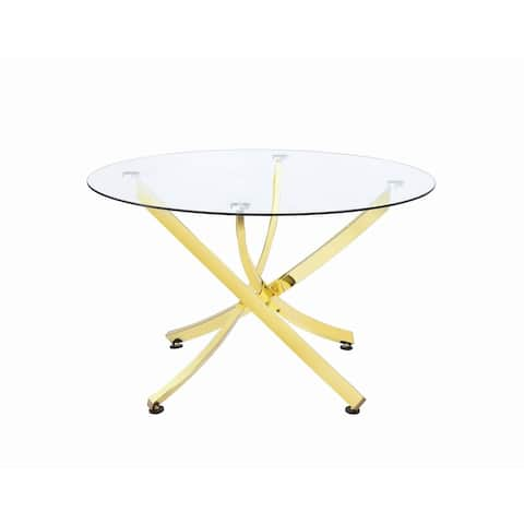 """Silver Orchid Hinding Brass and Clear Round Dining Table - 29.50"""" x 46"""""""