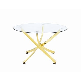 """Link to Silver Orchid Hinding Brass and Clear Round Dining Table - 29.50"""" x 46"""" Similar Items in Dining Room & Bar Furniture"""