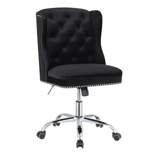 "Gracewood Hollow Nyamf Black and Chrome Upholstered Swivel Office Chair - 22"" x 28"" x 37.50"""