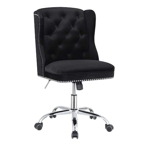 Gracewood Hollow Nyamf Black and Chrome Upholstered Swivel Office Chair
