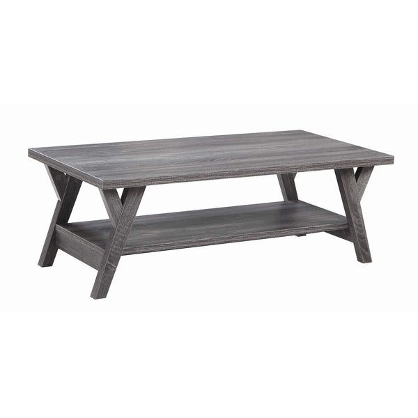 Distressed Grey Coffee Table: Shop Distressed Grey 1-shelf Rectangular Coffee Table