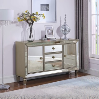 """Champagne Silver 3-drawer Accent Cabinet - 60"""" x 15"""" x 35"""""""