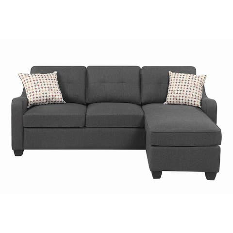 """Copper Grove Mosty Dark Grey Upholstered Reversible Sectional - 84.25"""" x 55.25"""" x 34.75"""""""