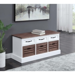 """Cappuccino and White 3-drawer Storage Bench - 39.25"""" x 13.75"""" x 17.75"""""""