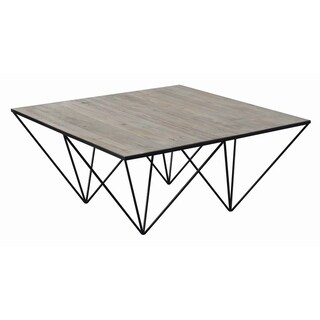 """Strick & Bolton Colbie White-washed Natural and Matte-black Square Coffee Table - 39.25"""" x 39.25"""" x 17.75"""""""